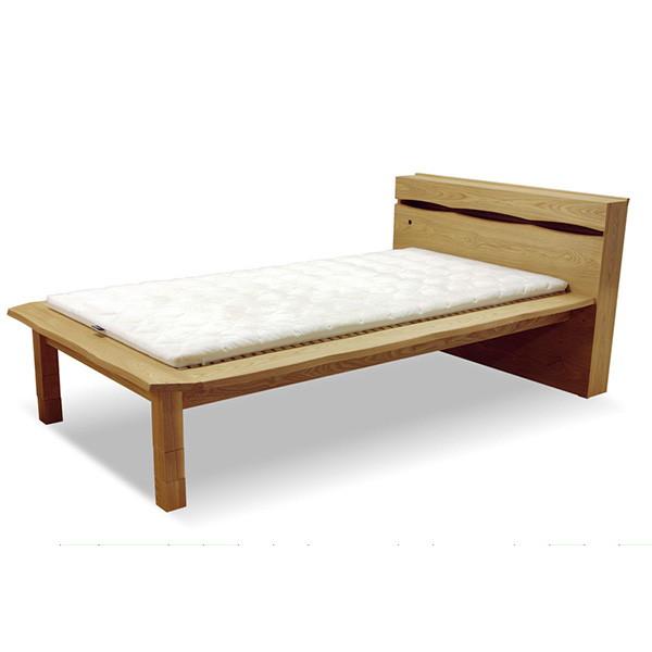 音羽 宮付布団ベッド セミダブルサイズ ヘッドボードにはスマートな扉付き収納スペースがあります。 桐スノコ仕様