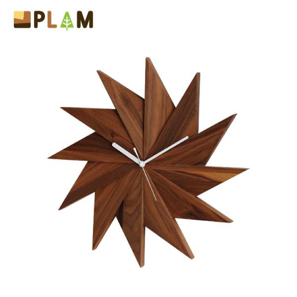 【送料無料】PLAM Latree ウォールクロック 風 ウォルナット 小さな無垢の木 幸せインテリア 飛騨家具 プラム ラトレ 木製 ナチュラル 北欧 壁時計 掛時計 人気 デザイン 新築祝い