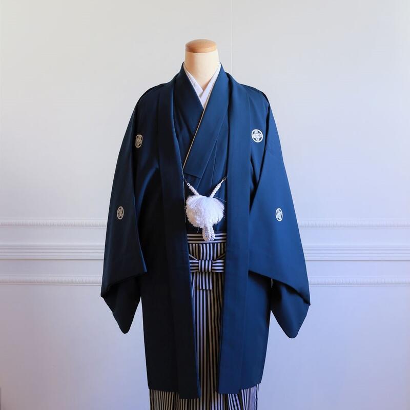 11【レンタル】羽織(紺)・袴(黒縞)フルセット【送料無料】和装 神社 ブライダル 着物 結婚式 前撮り 後撮り 卒業式 成人式