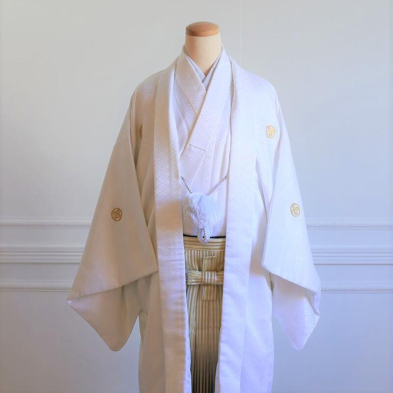 【レンタル】羽織(白)・袴(ゴールドぼかし縞)フルセット【送料無料】
