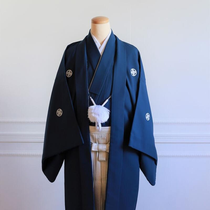 【レンタル】羽織(紺)・袴(シルバーぼかし縞)フルセット【送料無料】