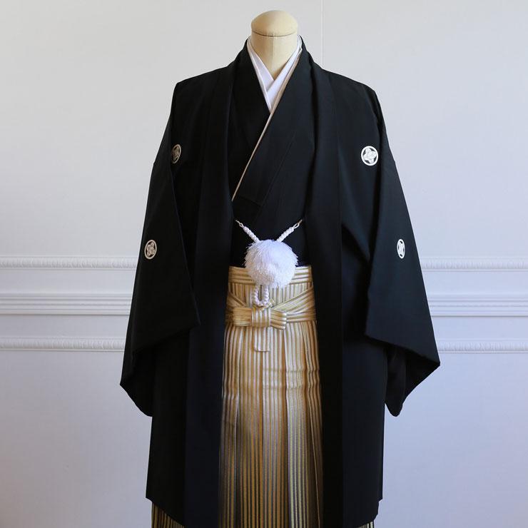 【レンタル】羽織(黒)・袴(ゴールドぼかし縞)フルセット【送料無料】