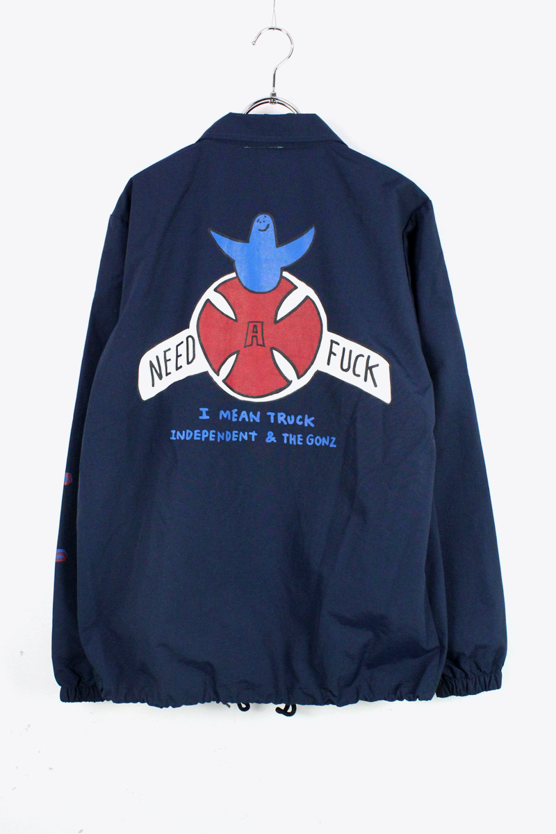 【中古】【送料無料】(KA) INDEPENDENT x MARC GONZALES (インディペンデント x マーク・ゴンザレス) COACH JACKET コーチ ジャケット NAVY [SIZE: S USED]