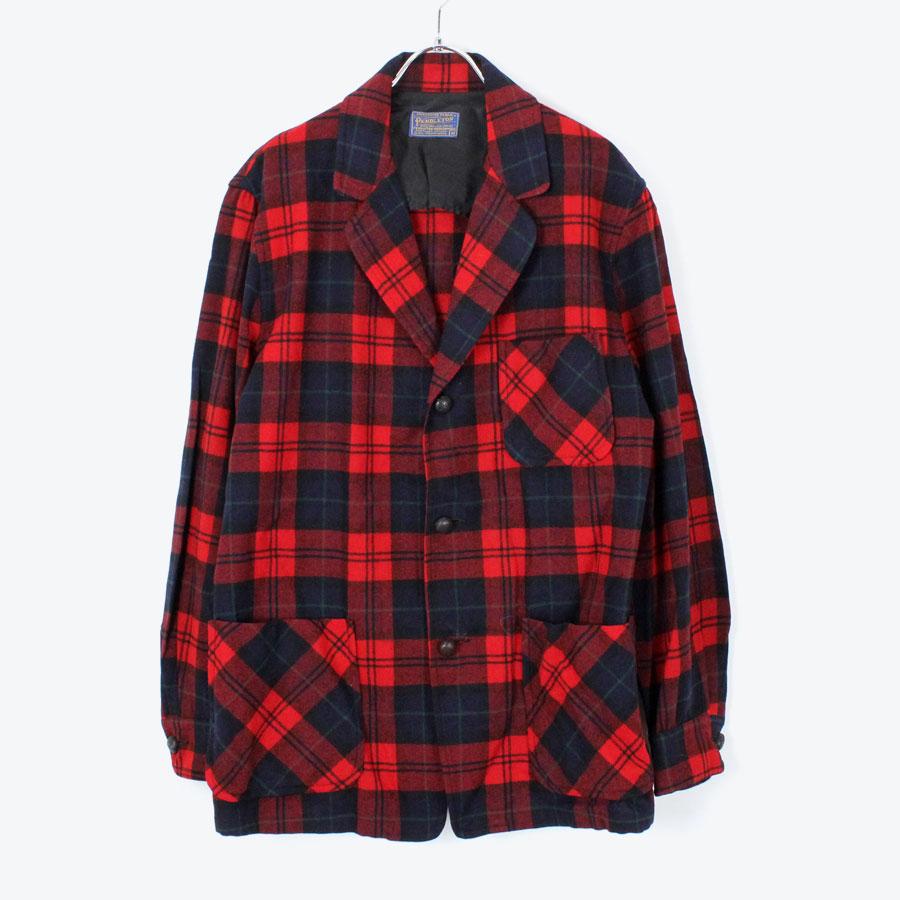 【中古】【送料無料】(KO) PENDLETON (ペンドルトン) 80'S WOOL CHECK TAILORED JACKET 80年代 ウール チェック テーラードジャケット RED/NAVY [SIZE:M USED]