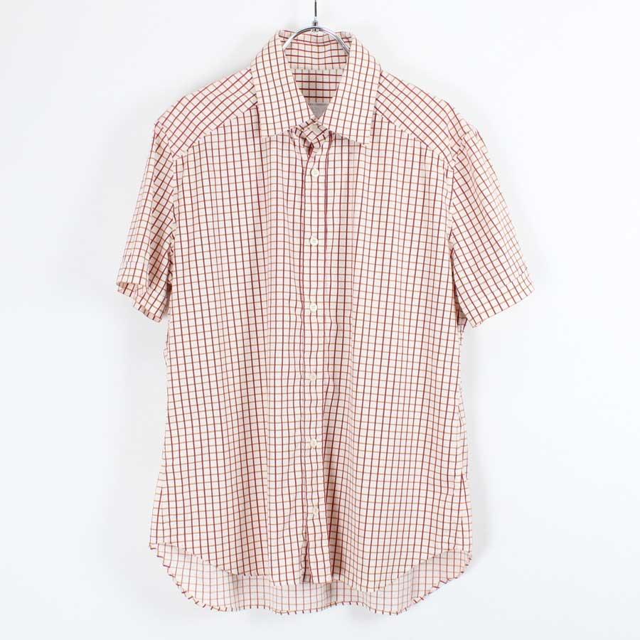 【中古】【送料無料】(KA) PRADA(プラダ) S/S CHECK SHIRT チェック シャツ WHITE/RED[SIZE:M相当 USED]