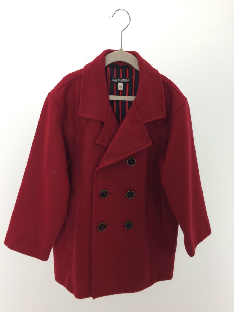 【中古】marimekko◆コート/120cm/ウール/RED【キッズ】