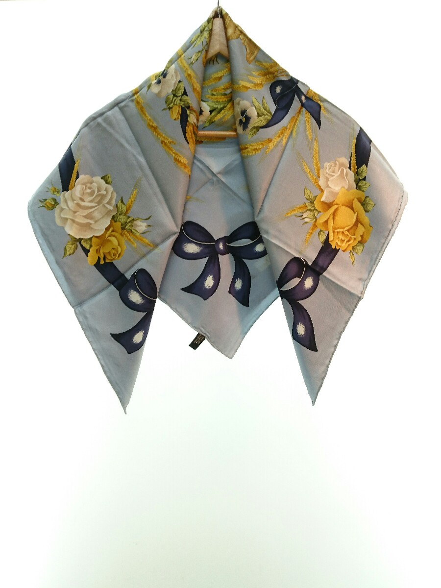 中古 Christian Dior スカーフ シルク 値引き スモーキーブルー リボン パンジー 花柄 レディース 売り込み バラ 服飾雑貨他