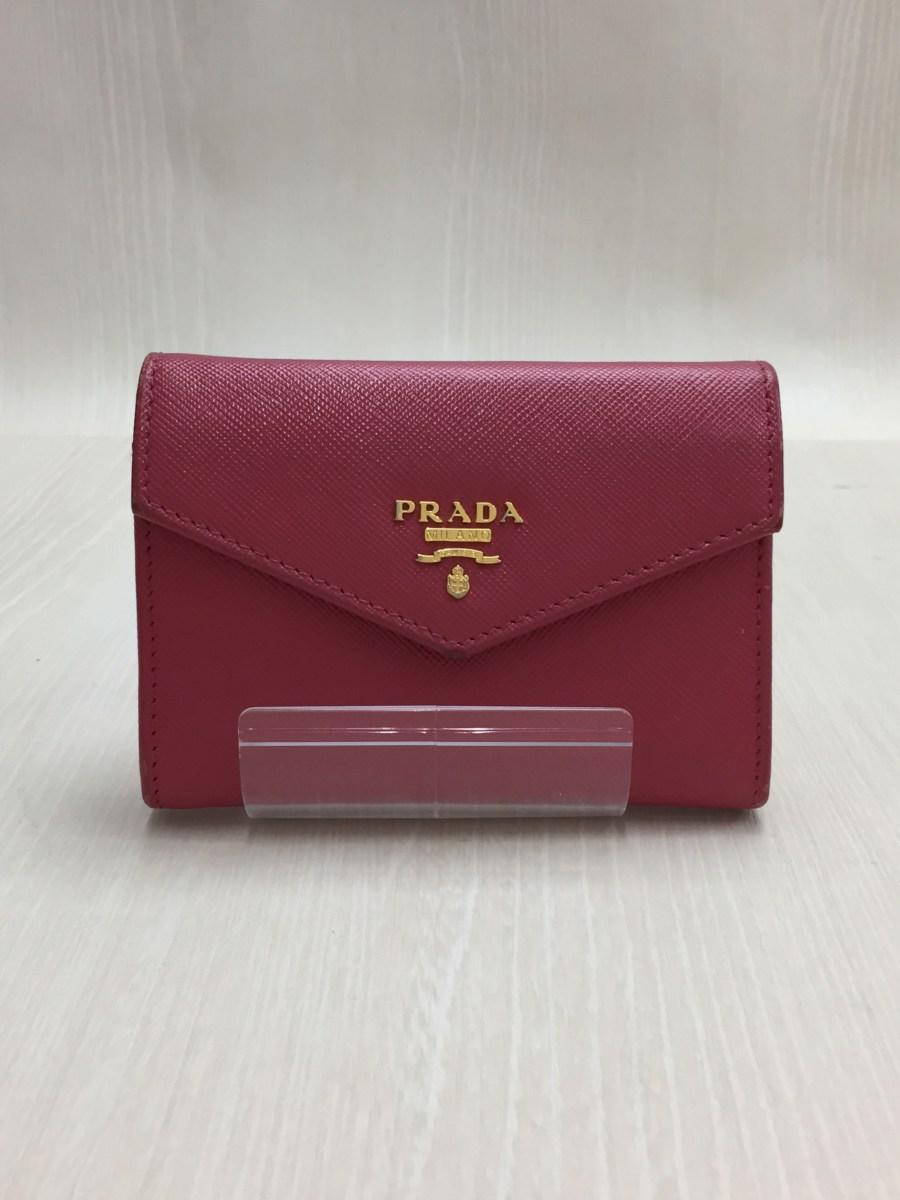 【中古】PRADA◆1M1442/カードケース/サフィアーノレザー/PNK【服飾雑貨他】