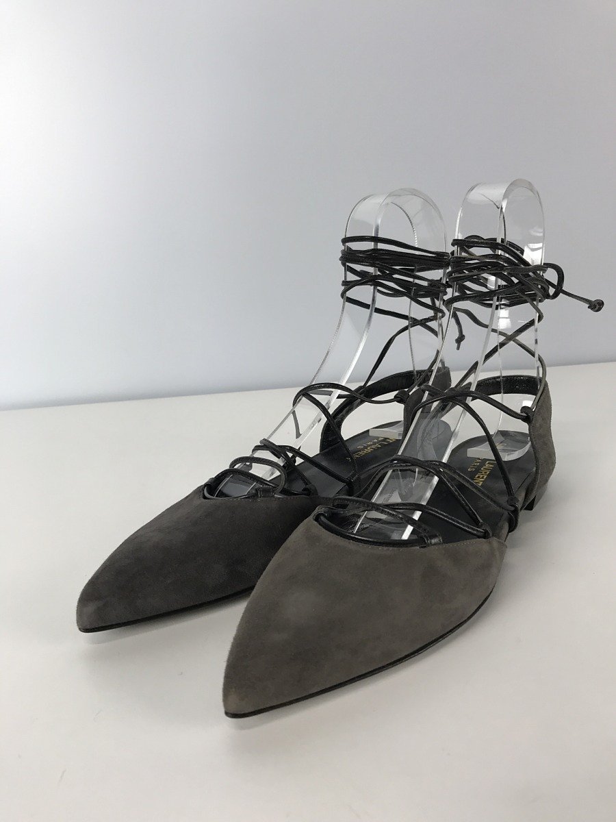 ★送料無料★【中古】SAINT LAURENT◆TIED CLOSED TOE SANDALS/サンダル/36.5/GRY【シューズ】