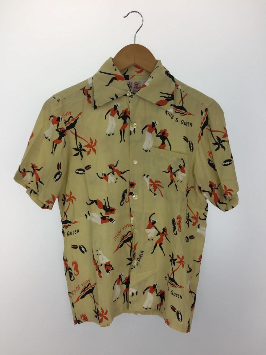 中古 Aloha Blossom アロハシャツ KINGQUEEN メンズウェア 36 AB-0003010106 豊富な品 レーヨン 入荷予定 BEG