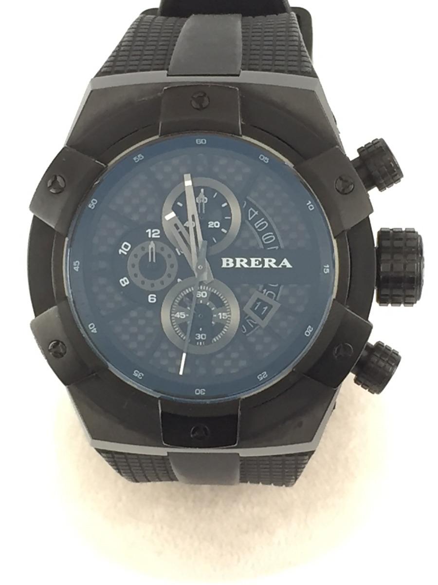 【中古】BRERA OROLOGI◆クォーツ腕時計/アナログ/ラバー/BLK/BLK【服飾雑貨他】