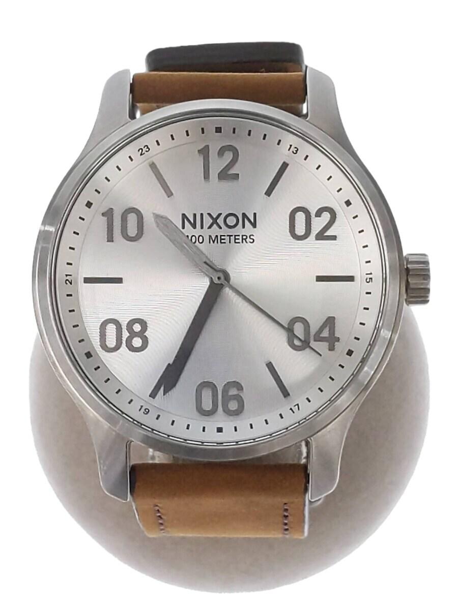中古 NIXON Patrol Leathe 低廉 腕時計 アナログ ブラック ブラウン レザー ご予約品 服飾雑貨他