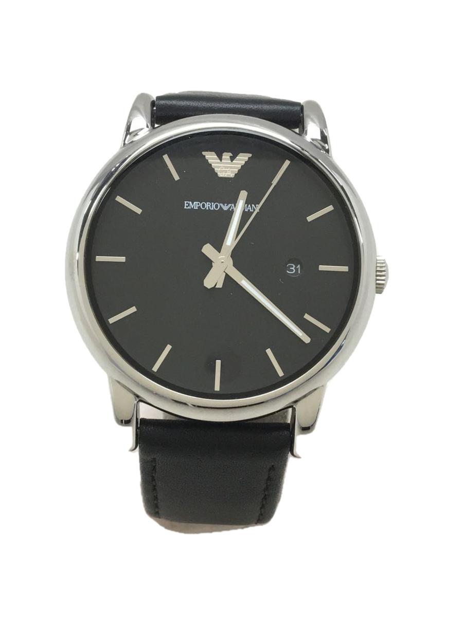 中古 100%品質保証! EMPORIO ARMANI クォーツ腕時計 アナログ 年末年始大決算 レザー AR-1692 K黒 BL 服飾雑貨他 ブラック