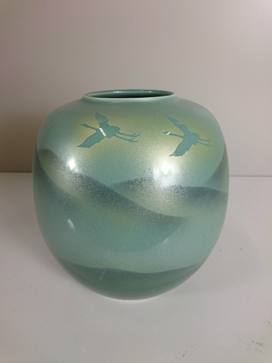 中古 丸谷焼 壷 花瓶 インテリア 日用雑貨 グリーン いつでも送料無料 鶴 流行