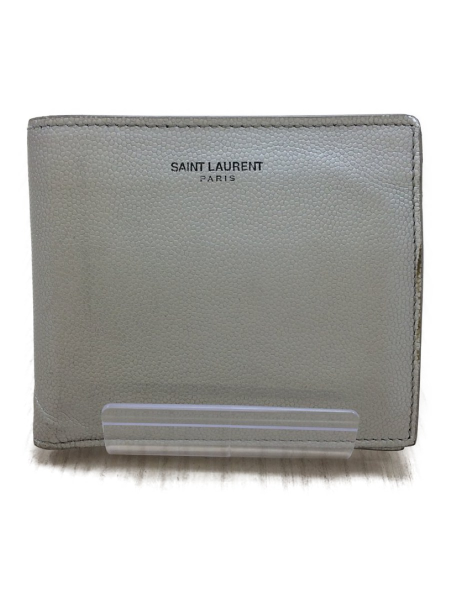 【中古】SAINT LAURENT◆2つ折り財布/レザー/SLV【服飾雑貨他】