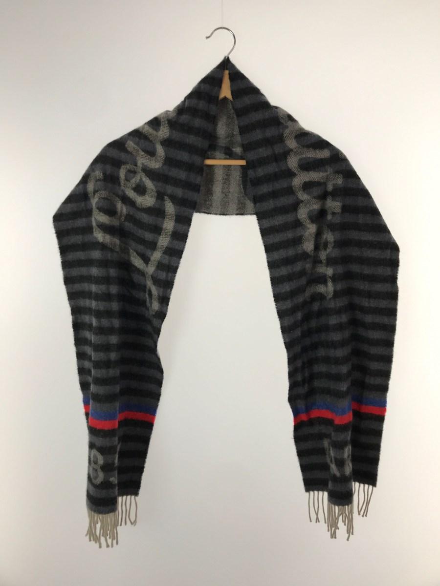 中古 LOUIS VUITTON エシャルプ トランク ウール 服飾雑貨他 春の新作シューズ満載 ストライプ GRY 信頼