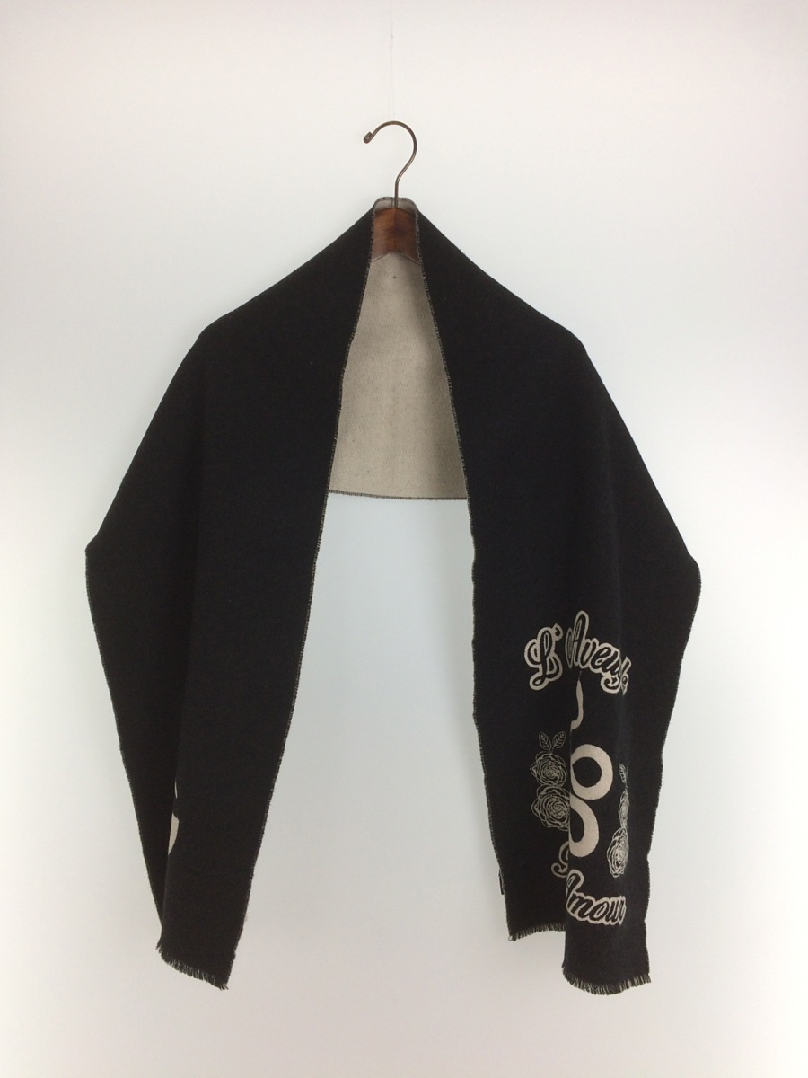 【中古】GUCCI◆グッチ/スカーフ/ウール/ブラック/プリント/メンズ【服飾雑貨他】