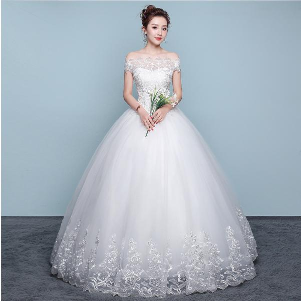d597d63f1594f 二点送料無料新入荷韓国風ロングウェディングドレスフォーマル可愛い花嫁ドレスフリル