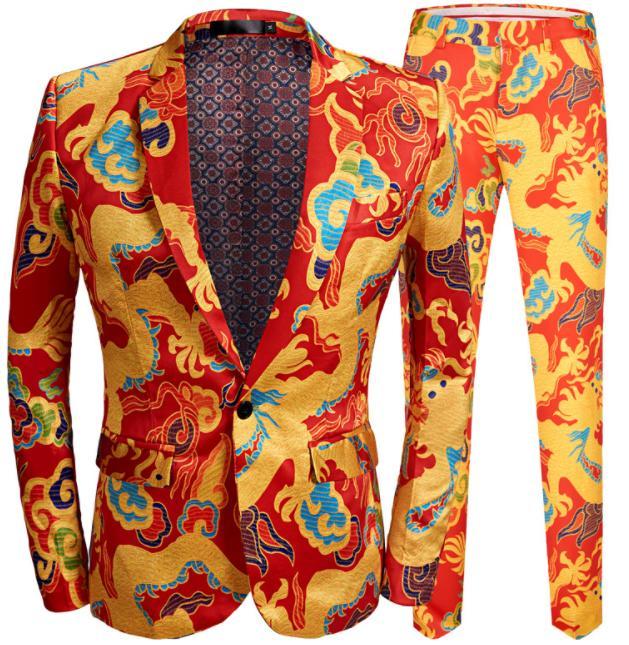 メンズパンツスーツ2点セットアップ 龍&雲プリント スーツジャケット+花柄総柄パンツ 派手な舞台演出服 明るいステージ服 結婚式パーティーコスプレスーツ カジュアル イベント司会者服 コートのみ対応可