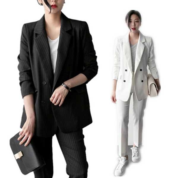 feb32c0928ef2 韓国ファッション 春秋冬上質レディーススーツ ダブルブレスト 上下2点セット ストライプ柄 OL