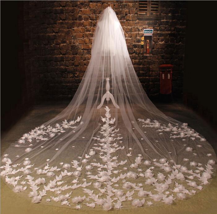 二枚送料無料/ウェディングドレスに最高な超長いベールトレーン長さ3m ブライダル花嫁 結婚用品 結婚式グッズ道具 披露宴ベールレース刺繍柄 エレガントお嬢様お姫様