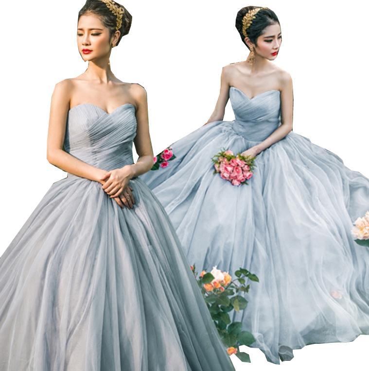 グレー ドレスカバー付 ロングウェディングドレスロング丈上質シンプルなフォマールドレスパーティー二次会ドレス お花嫁結婚ドレス 披露宴フリルドレスエンパイアドレス演出ドレス高級チュール重ねワンピース