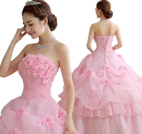 fa6cfc330cd3c ... 二点送料無料 ピンク赤白3色 ロングウエディングドレス お洒落 ドレス花嫁