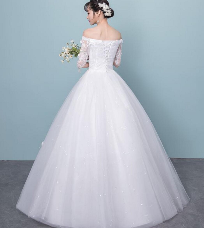 bffaedfe64528 楽天市場 二点送料無料 2018年新入荷七分袖ロングウェディングドレス ...