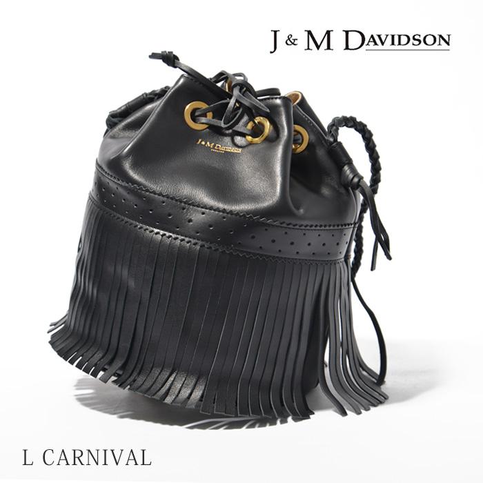 J&M Davidson カーニバル バッグ フリンジ 本革 定番 ショルダー バッグCARNIVAL L LARGE 815 7314レディース カーニバル 巾着型 ブラック BLACK 【コンビニ受取対応商品】
