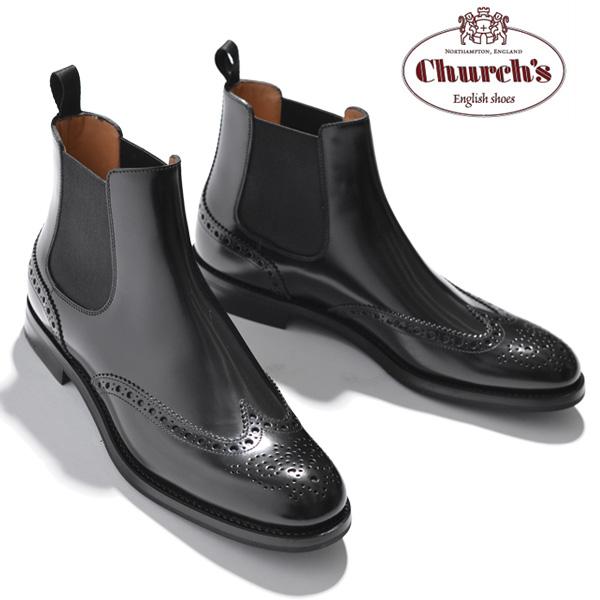 チャーチ Church's レディース ショートブーツ サイドゴア ウイングチップ Ketsby WG Black Polished Binder カーフレザー ブラック サイズ36/36.5/37/37.5/38/38.5 モードなデザイン 上質レザー使用 革靴 サイドゴアブーツ ショート ブーツ ブランド送料無料