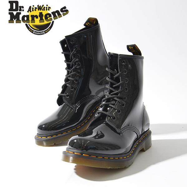 Dr.Martens ドクターマーチン 8ホール レディース 1460W 8EYE BOOT 11821011 パテント ブラック 黒 レースアップ ブーツ レースアップブーツ ショートブーツ ワークブーツ 定番 8 eye boots 革靴 大人 カジュアル トレンド おしゃれ ロック