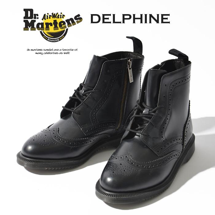 ドクターマーチン Dr.Martens KENSINGTON DELPHINE 22650001 レディース ブーツ 6ホール シューズ ブローグブーツ スムース レザー ブラック 黒 レースアップ レースアップブーツ ショートブーツ ワークブーツ 定番 大人 カジュアル トレンド おしゃれ ロック