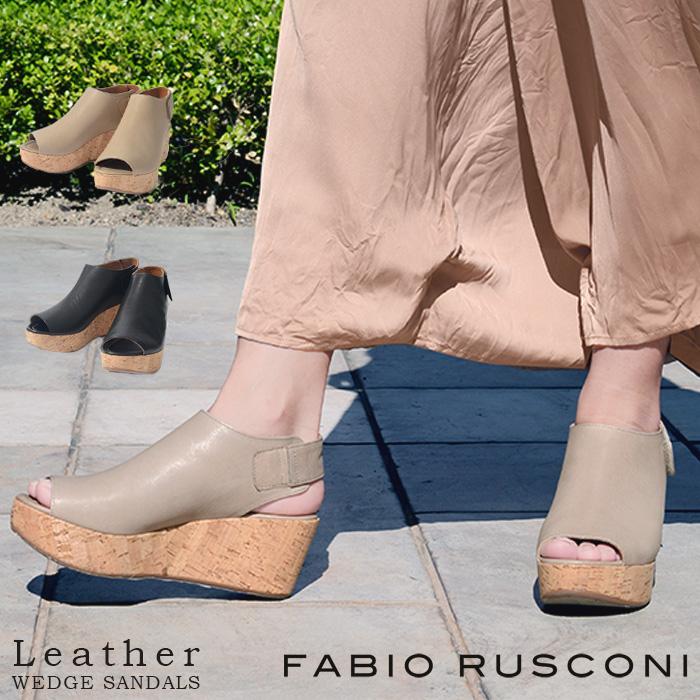 法比奥 · Rusconi 楔唯一凉鞋皮革皮革成人优雅的法比奥 · Rusconi 在意大利皮革坯布质量高质量皮鞋