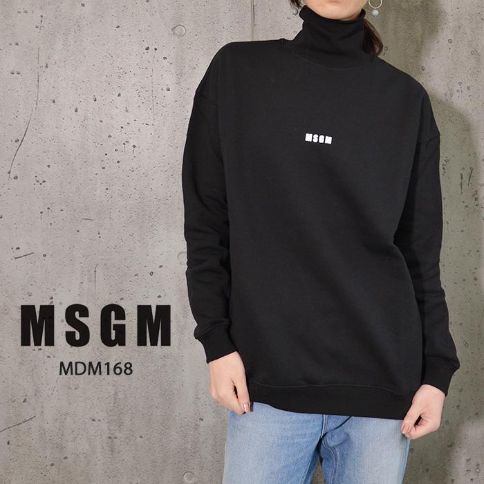 MSGM レディース スウェット トレーナー タートルネック タートル ロゴ ミニロゴ エム エス ジー エム MSGM MDM168 イタリア ミラノ シンプル 定番 レディース 長袖 ブランド
