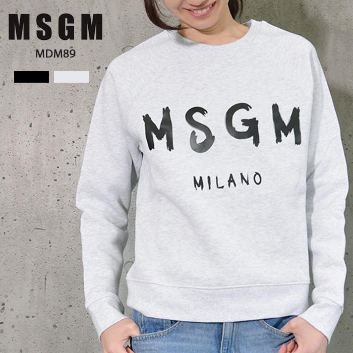 MSGM レディース トレーナー スウェット ロゴ エム エス ジー エム MSGM MILANO イタリア ミラノ シンプル 定番 トップス 長袖 ブランド ロゴトレーナー ロゴスウェット スウェットトレーナー プリント XS S M サイズ グレー ブラック