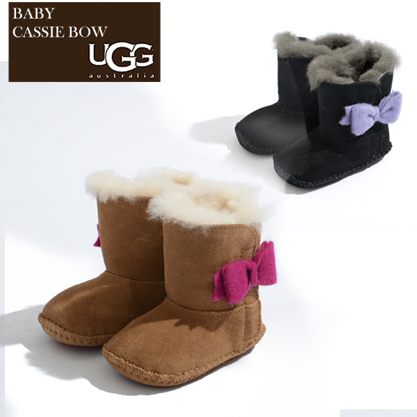 c476f5e19fc Baby gift present present matching for six months for the アグ ugg mouton  boots kids baby shoes mouton baby first shoes CASSIE BOW boa black / black  ...