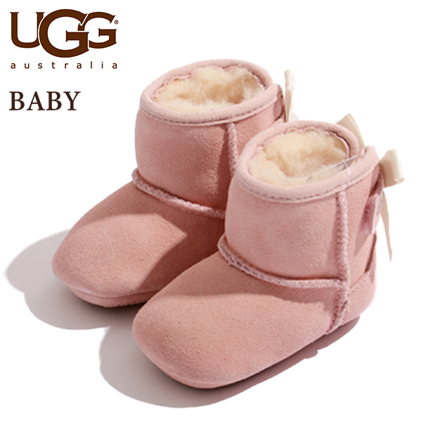 アグ ugg ムートンブーツ キッズ ベビー シューズ ムートン ベビームートン バックリボン JESSE BOW ボア ベビーシューズ チェストナット 子供用 6ヶ月/12ヶ月/24ヶ月 お揃い 出産祝い プレゼント 贈り物 革靴