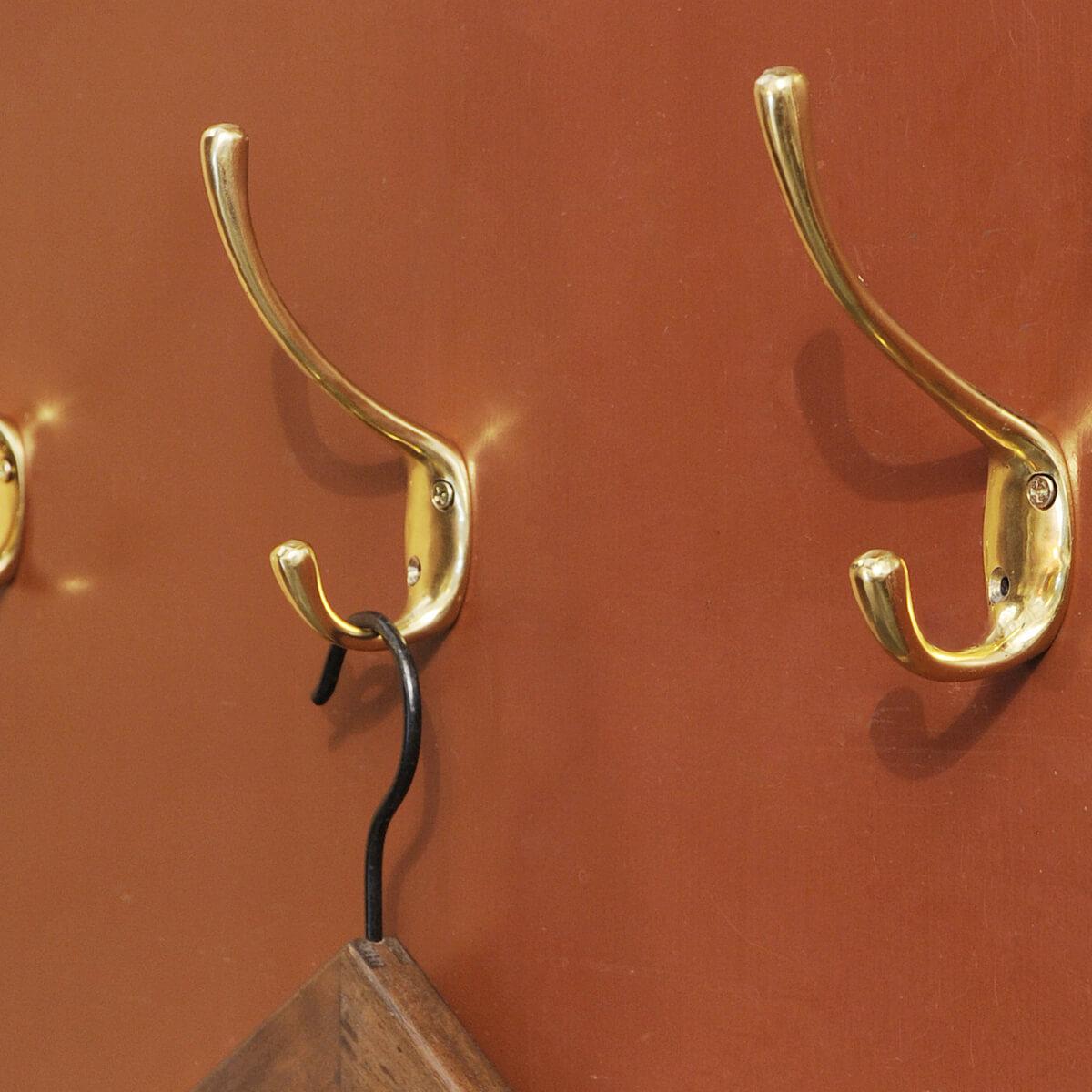 真鍮 ブラス ウォール フック 壁掛け メーカー直送 壁 百貨店 ハンガー ハンギング DIY クラシック ポリッシュダブルフック レトロ アンティーク調 ポリッシュブラスダブルフック 壁付 アンティーク風 ヴィンテージ