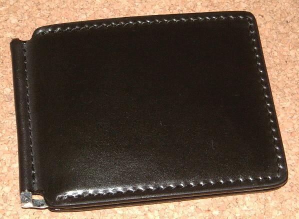 DOLCE VITA/ドルチェヴィータ 高級! オイル仕上げ コードバン 馬革製 薄型 マネークリップ (BLACK/ブラック) DolceVita イタリアンレザー ブッテーロ サドルレザー ヌメ革 二つ折り財布 ショート ウォレット 黒