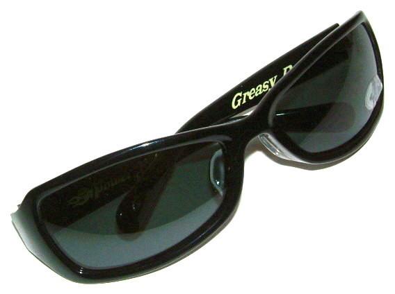 """POWERROD 66/パワーロッド66 ホットロッド仕様 """"偏光レンズ"""" セルフレーム サングラス ≪GREASY DAD'S≫ (ブラックフレーム×偏光スモークレンズ) バイカーシェード ホットロッド ロカビリー アイウェア メンズ 眼鏡 めがね メガネ バイク ハーレー 黒"""
