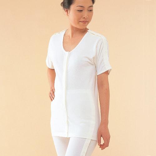 治療中の方や介護に便利な両肩腕全開タイプ 介護用 介護肌着 前開きシャツ 両肩腕開き5分袖 オフホワイト 信憑 M~Lサイズ 婦人用 丸首 アウトレット 1点までDM便可 綿100% 介護衣料 NO.54