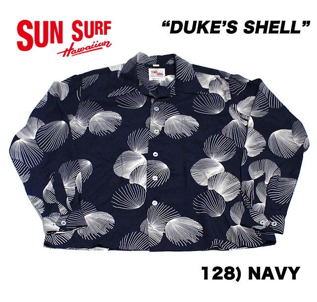 "No.DK27557 DUKE KAHANAMOKU デューク・カハナモクSPECIAL EDITIONL/S RAYON HAWAIIAN SHIRT""DUKE'S SHELL"""