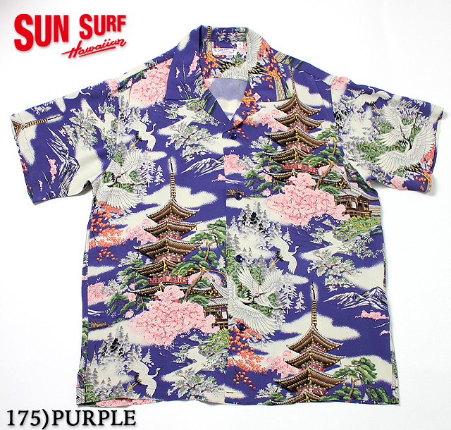 "No.SS32163 SUN SURF サンサーフS/S RAYON HAWAIIAN SHIRT""FIVE STORIED PAGODA"""