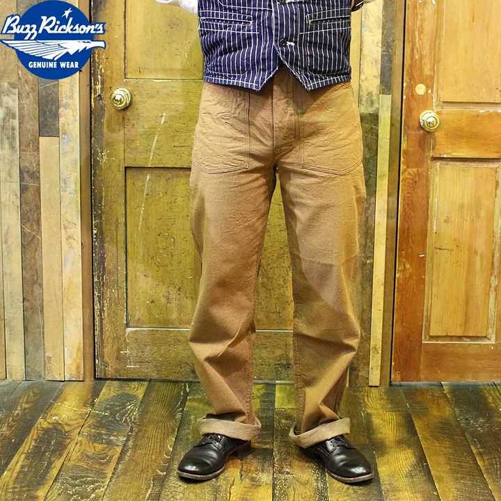 No.BR41901 BUZZ RICKSON'S バズリクソンズWWI BROWN DENIMARMY TROUSERS