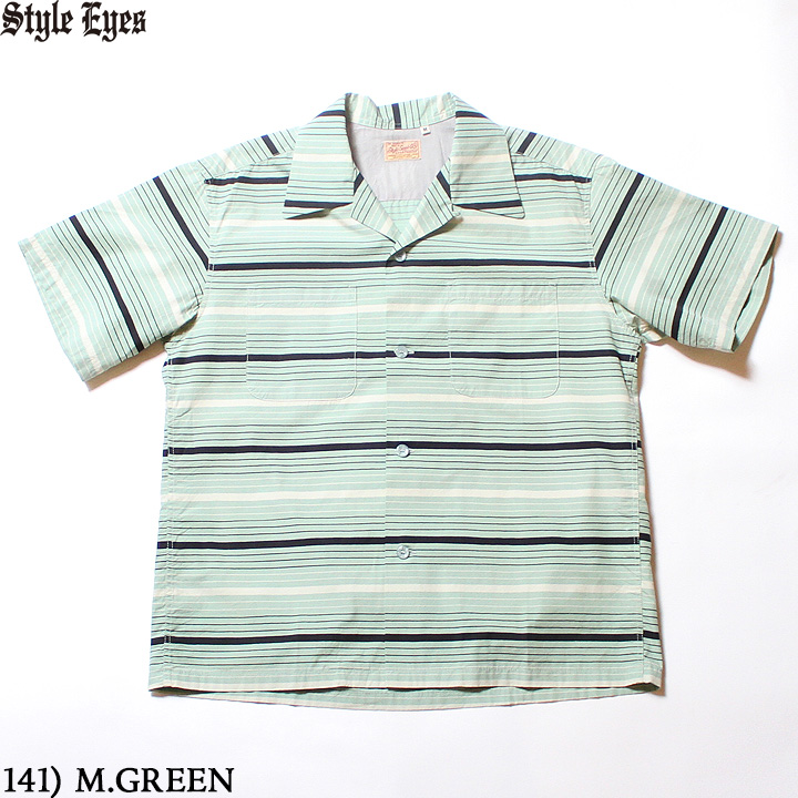 "No.SE38353 STYLE EYES スタイルアイズBROAD COTTON S/S SPORTS SHIRT""MULTI STRIPES"""