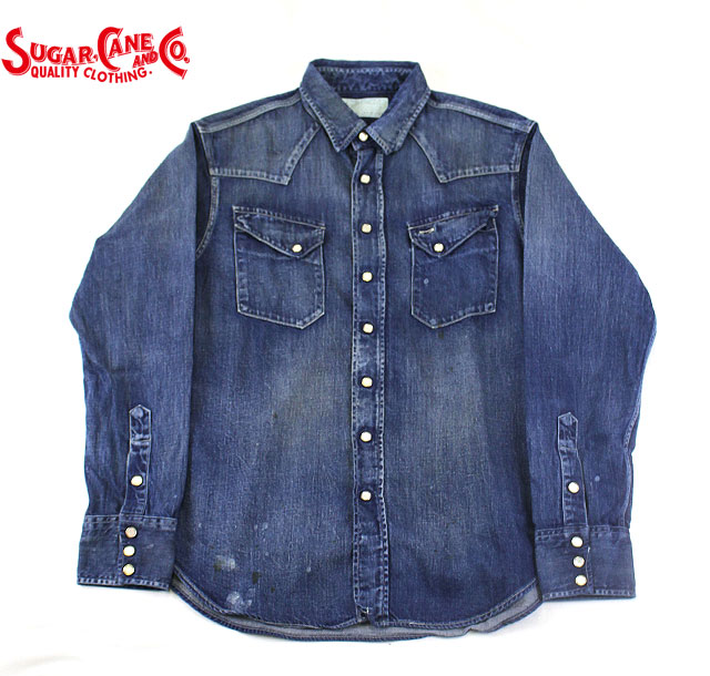 No.SC27223H SUGAR CANEシュガーケーンFICTION ROMANCE8oz.DENIM WESTERN SHIRTHARD WASH