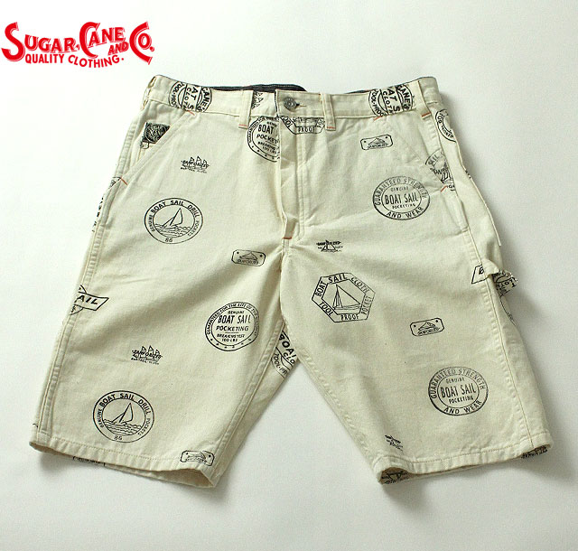 No.SC51553 SUGAR CANE シュガーケーン FICTION ROMANCE8.2oz BOAT SAIL CLOTH WORK SHORTS