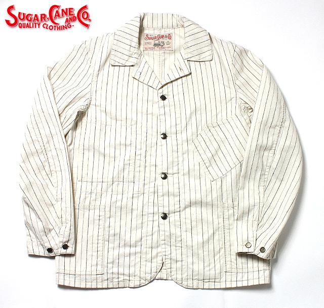 No.SC14087 SUGAR CANE シュガーケーンFICTION ROMANCE8oz.OFF TWILL STRIPE WORK COAT