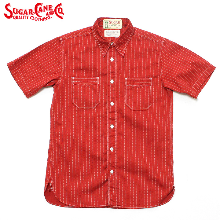 No.SC38452 SUGAR CANE シュガーケーンFICTION ROMANCE8.5oz. RED WABASH STRIPES/S WORK SHIRT