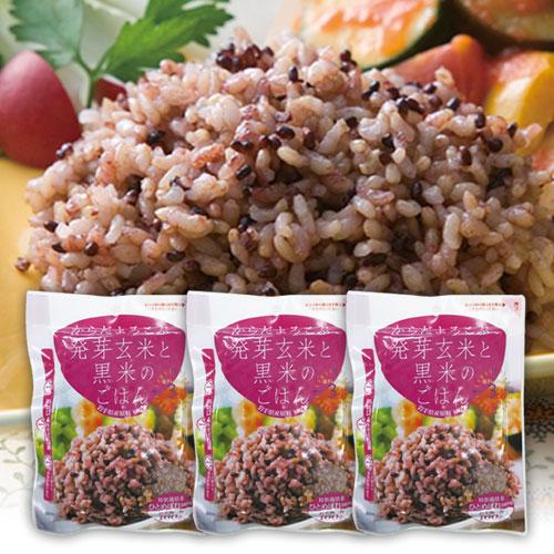 発芽玄米と黒米のごはん 160g×3個セット 雑穀米 ご飯 送料0円 ごはん 一人分 パック 一人前 結婚祝い レトルト